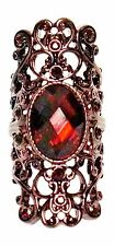 Deep Red Colored Stone with Brass Colored Filigree Stretch Ring