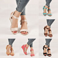 Women Ladies Wedge Buckle Strappy Sandals Summer Dress Sandals Heel Casual Shoes