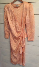 Authentic 80's Milanzo Peblum Ruching Party Dress SZ 9 Peach USA Made