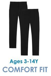 Pack of 2 - Boys School Trousers Comfort Fit Elastic Waist 3-16 Years Black Grey