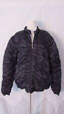 TRUTUS BIANCARRA Black SIlver Satin Puffy Jacket Coat Zip Up Warm Lined SZ XXXL