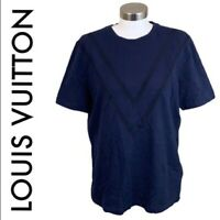 LOUIS VUITTON Men's Size Large Blue Short Sleeve T-Shirt Crew Neck
