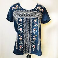 Johnny Was JW Los Angeles Blue Linen Floral Embroidered Top Blouse XS Boho $189