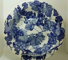 La Primula Blue Grapes & Leaves White Rimmed Bowl MADE IN ITALY