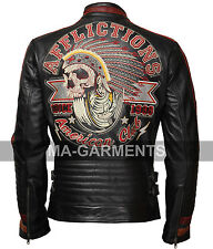 Motor Club Black Biker Cowhide Real Leather Jacket with 3D Apache Embroidery