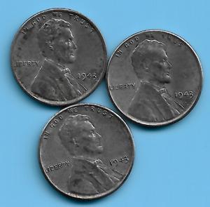 US 1943 Wheat Steel Penny coin set lot WW2 ERA #44