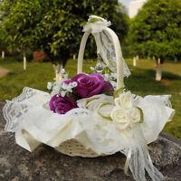Eg _Romantisch Satin Spitze Bowknot Blumenmädchen Korb für Hochzeit Zeremonie