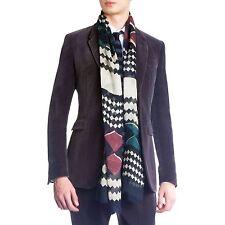 $425 RUNWAY NEW Burberry Prorsum Modal Silk Zig Zag Crinkle Men Women Scarf Gift