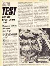 1973 FIAT 124 SPORT COUPE 1800 EUROPEAN  ~  5-PAGE ROAD TEST / ARTICLE / AD