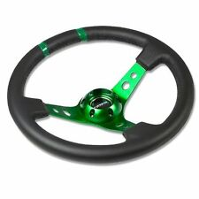 "NRG Limited Steering Wheel 350mm Green Center & Black Leather 3"" Deep Dish"
