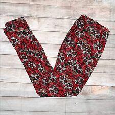 Sugar Skull Red Pink Women's Leggings  OS One Size 2-12 Soft As LLR