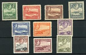 Antigua KGVI 1938 SG 98/107 1/2d to 5/- Mint Hinged Cat £70