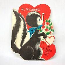 Vtg Hallmark Valentines Card Skunk Heart Flowers Die Cut Ephemera 1940s 50s
