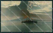 Napoli città Eruzione Vesuvio Battello cartolina VK4629