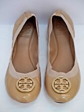 2ae80a2286a24a TORY BURCH Caroline nude patent leather logo toe detail ballet flats 8 WORN  ONCE