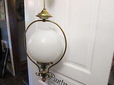 Vintage Fenton Milk Glass Hobnail Hanging Ceiling Light Fixture RETRACTABLE