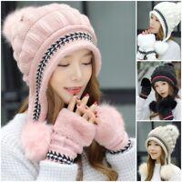 Women's Knitted Hat Gloves Set Xmas Gift Winter Warm Thicken Crochet Beanie Hat