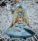"New DeBrekht WINTER  ANGEL w/RABBIT BELL Scenic Glass Ornament 4.25"""