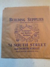 Genuine old Vintage Brown Paper Bag retail outlet Building Supplies South Molton