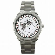 Poker Playing Cards Casino Gambler Vegas Stainless Steel Watch