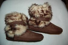 Girls PLUSH BROWN SLIPPERS Boots FAUX FUR Pom Poms HIGH TOP Rubber Soles 13-1
