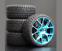 1/10 Onroad Rc Car Aluminium Wheels Rims Tires For Tamiya tt01 tt02 Traxxas 4tec