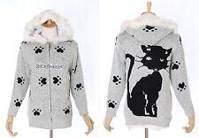 TH-17 Gr.XS-S Kapuzenpullover grau grey gefüttert Katze Cat Japan Trend Fashion