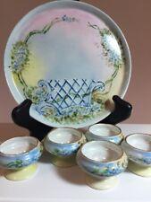 P P Limoges France Set Tray Trinket Dish Bluebonnet Flower Egg Cup Salt Dip