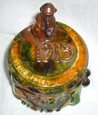ANTIQUE 1915 ARTIST SIGNED FRENCH MAJOLICA SMOKING MONKEY TABAC TOBACCO HUMIDOR