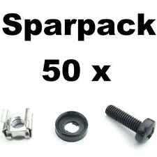 50x Rackschrauben M6x20 + Unterlegscheiben versenkt + Käfigmuttern Alu-Schienen