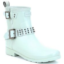 Hunter women 8 Refined Stud waterproof biker boot light blue