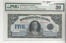 1924 Dominion of Canada DC-27 $5  SN# A027475  PMG VF-30