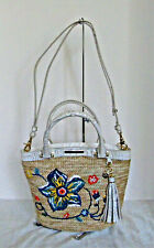RARE Brahmin Small Bowie Natural Dixon Straw Embroidered Ivory