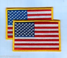 """American Flag  Patch - Lot of 2 - Star Field Left, Gold Border 3 1/2"""" X 2 1/4"""""""