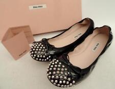Miu Miu Black studded leather Ballet Flats Shoes EU38 UK5 New