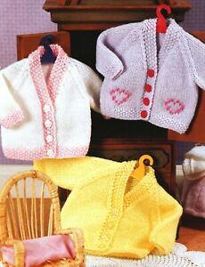 "Knitting Pattern DK Baby Dolls Clothes 12 - 22"" Raglan Cardigans"