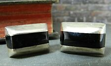Vintage Mexico Sterling Silver & Onyx Rectangular Striped Cufflinks