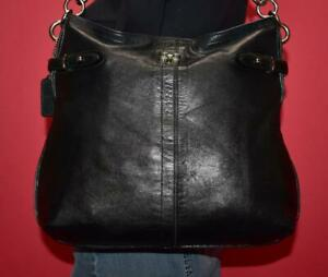 COACH COLETTE Black Leather Hobo Bucket Shopper Shoulder Reptile Purse Bag 16413