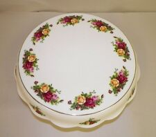 """ROYAL ALBERT OLD COUNTRY ROSES FOOTED PEDESTAL CAKE PLATE 13"""""""