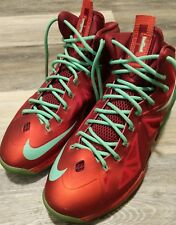 2012 Nike Air Max LEBRON X 10 CHRISTMAS XMAS RED TOURMALINE GREEN 541100-600 11