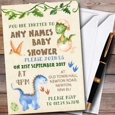 Watercolour Cute Dinosaur Boy Personalised Baby Shower Invitations