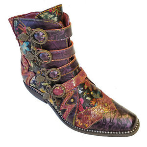 L'Artiste Rodeha Metallic Purple Cowboy Bootie Victorian Boots Boho Chic Shoes