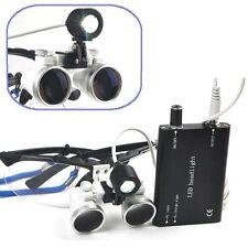 Black Dental Surgical Medical Binocular Loupes 2.5X 420mm+LED Head Light Lamp AA