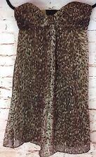 BETSEY JOHNSON Womens Dress 100% Silk Leopard Print Strapless Size 4