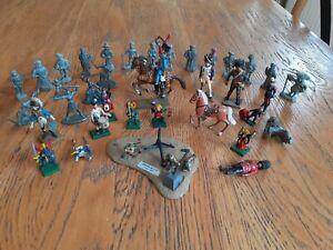 Lot 40 pieces Soldats metal plomb alu plomb Starlux ou autres. Diorama Omaha.