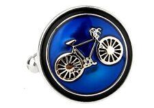 Bike Bicycle Cycling Cyclists Blue Cufflinks Groom Fancy Gift Box Free Ship USA