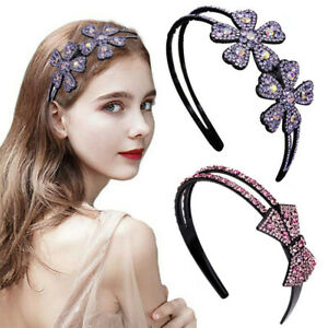 Women Crystal Flower Headband Hairband Bow Rhinestone Hair Band Hoop Accessories