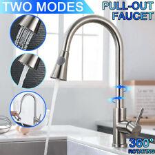Modern Kitchen Sink Tap Pull Out Spray Single Lever Chrome Brass Mono Mixer Set