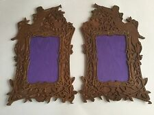 "Unusual True Pair Antique Art Nouveau Hand-cut Brass Picture Frames 14""h"