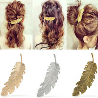 Women Gold/Silver Leaf Feather Hairpin Hair Clip Barrette Bobby Pins Accessories